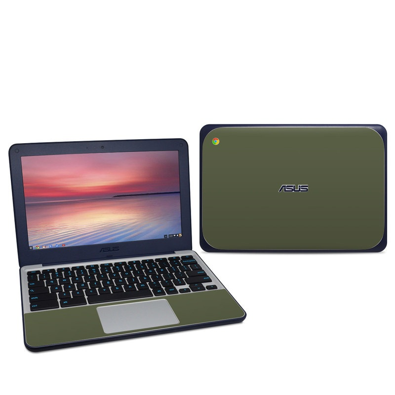 Asus Chromebook C202S Skin design of Green, Brown, Text, Yellow, Grass, Font, Pattern, Beige with green colors