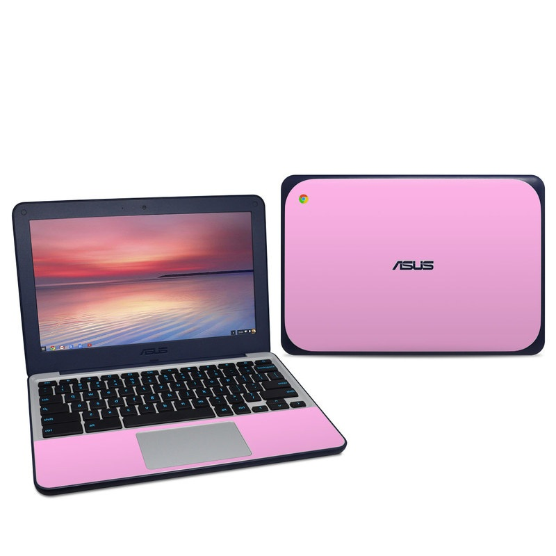Asus Chromebook C202S Skin design of Pink, Violet, Purple, Red, Magenta, Lilac, Sky, Material property, Peach with pink colors