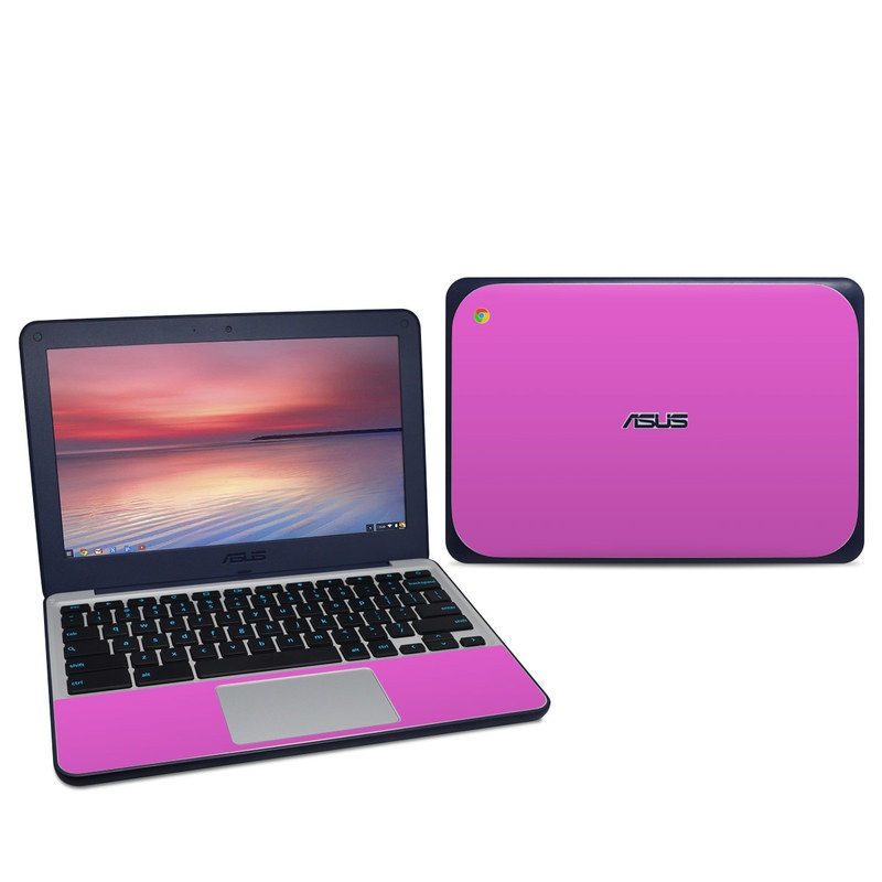 Asus Chromebook C202S Skin design of Violet, Pink, Purple, Red, Lilac, Magenta, Blue, Lavender, Text, Sky with pink colors