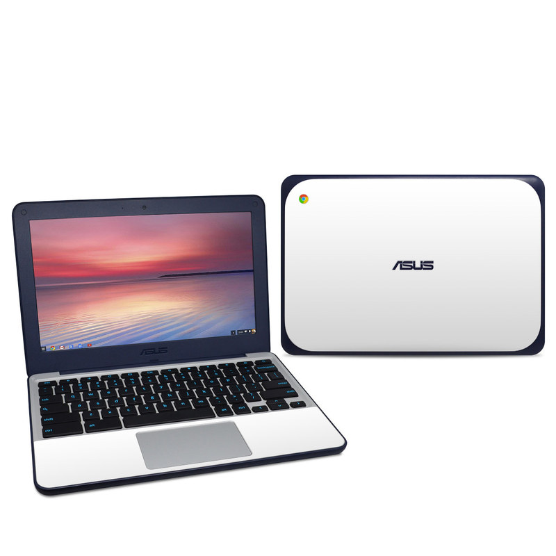 Asus Chromebook C202S Skin design of White, Black, Line with white colors