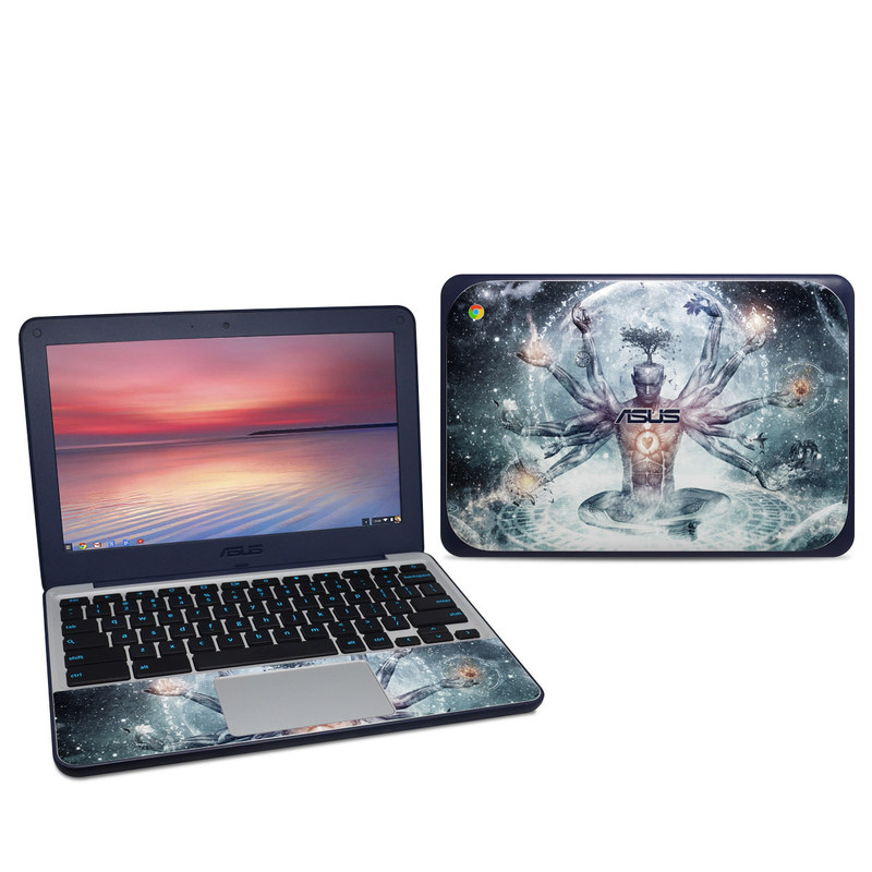 Asus Chromebook C202S Skin design of Mythology, Cg artwork, Water, Illustration, Fictional character, Space, Graphics, Art, Graphic design with blue, red, orange, black, white colors