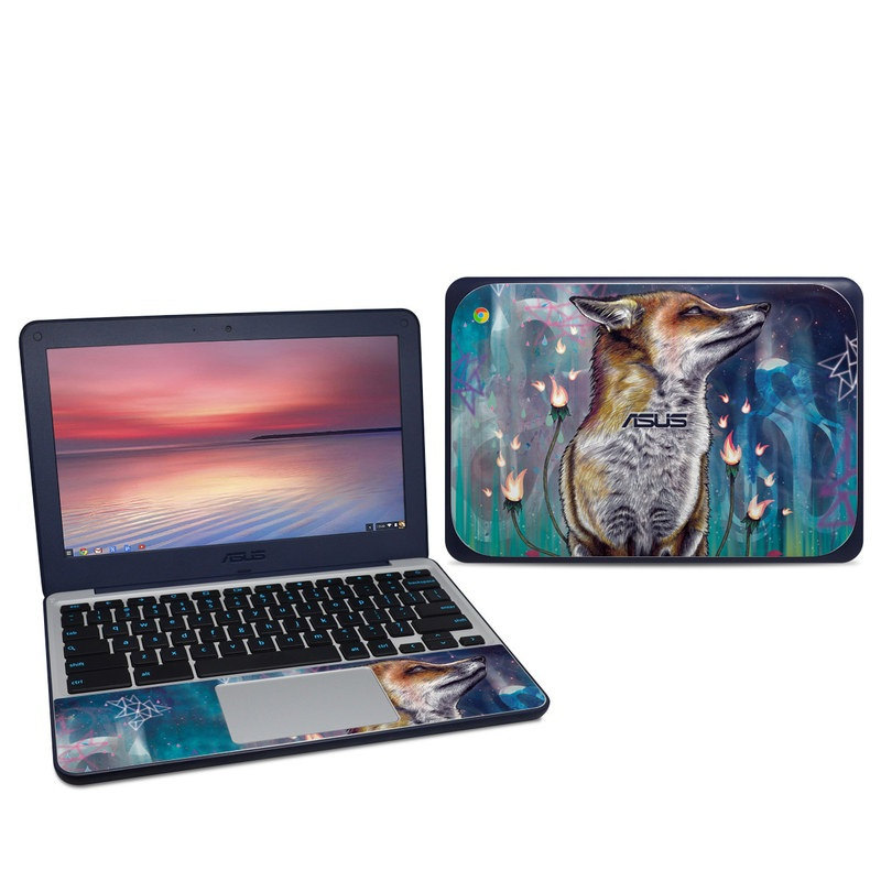 Asus Chromebook C202S Skin design of Red fox, Art, Wildlife, Canidae, Illustration, Fox, Carnivore, Painting, Dhole, Red wolf with black, gray, blue, red, green colors