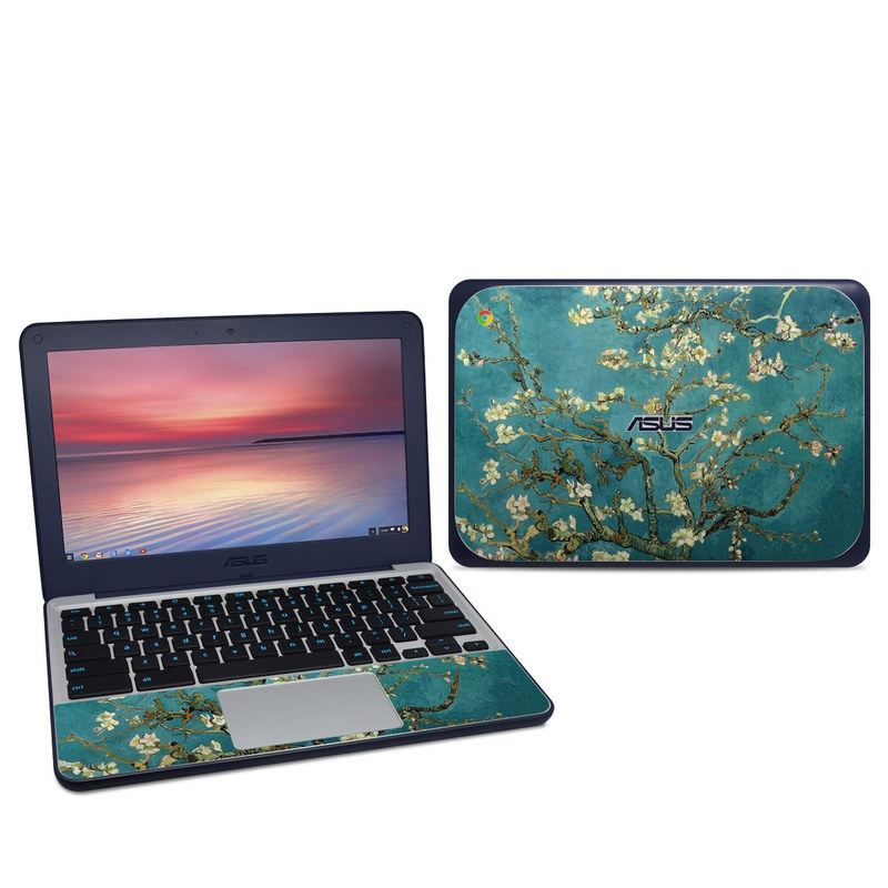 Asus Chromebook C202S Skin design of Tree, Branch, Plant, Flower, Blossom, Spring, Woody plant, Perennial plant with blue, black, gray, green colors