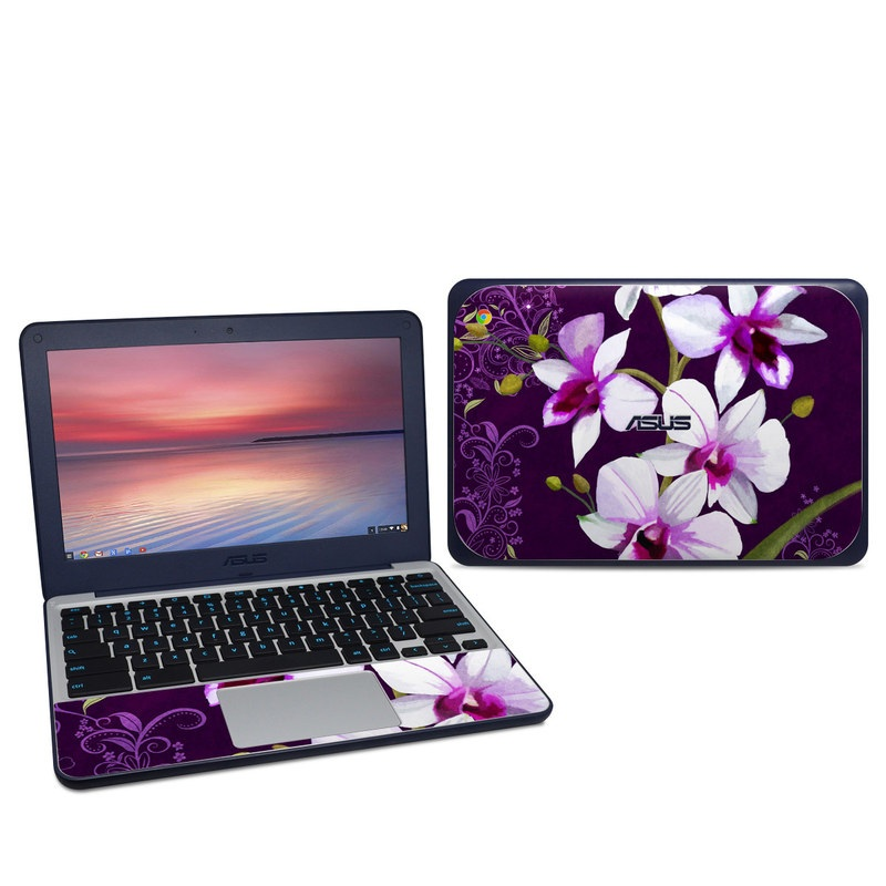 Asus Chromebook C202S Skin design of Flower, Purple, Petal, Violet, Lilac, Plant, Flowering plant, cooktown orchid, Botany, Wildflower with black, gray, white, purple, pink colors
