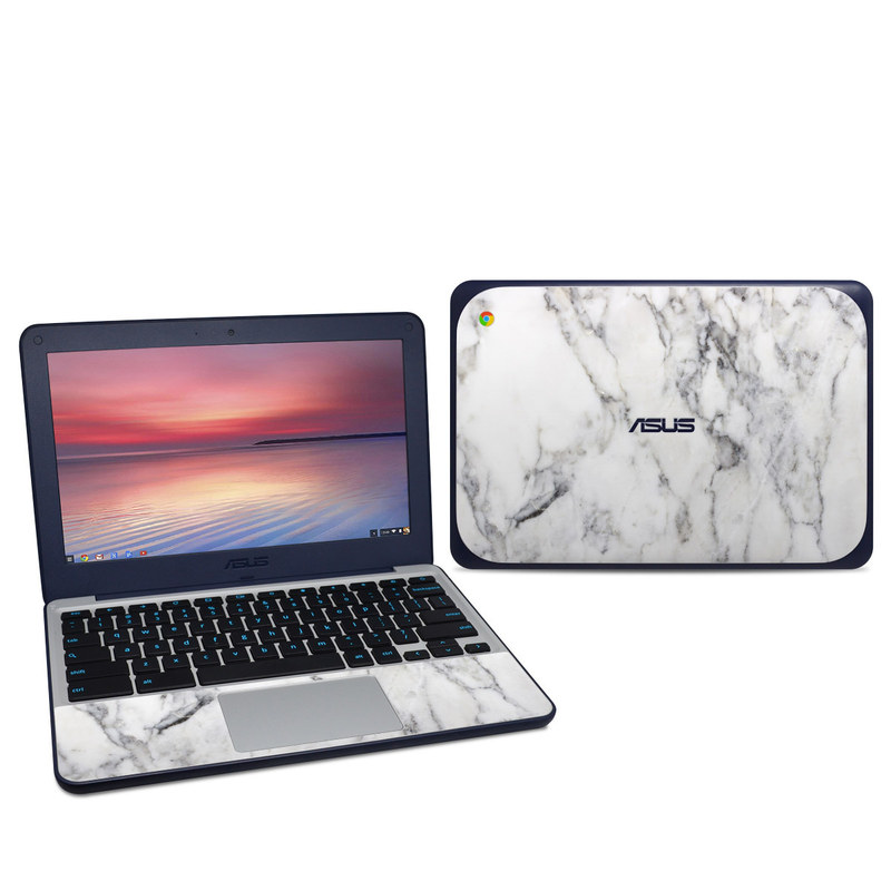 Asus Chromebook C202S Skin design of White, Geological phenomenon, Marble, Black-and-white, Freezing with white, black, gray colors