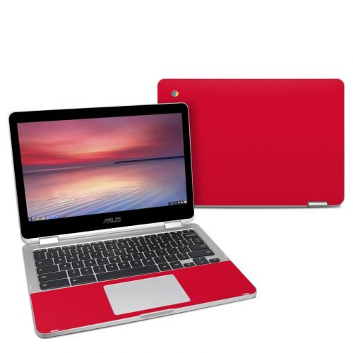 Solid State Red Asus Chromebook Flip C302 Skin