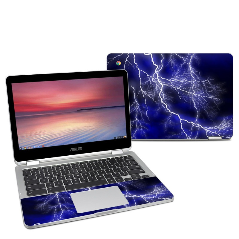 Asus Chromebook Flip C302 Skin design of Thunder, Lightning, Thunderstorm, Sky, Nature, Electric blue, Atmosphere, Daytime, Blue, Atmospheric phenomenon with blue, black, white colors