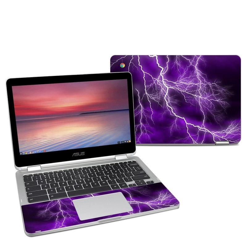 Asus Chromebook Flip C302 Skin design of Thunder, Lightning, Thunderstorm, Sky, Nature, Purple, Violet, Atmosphere, Storm, Electric blue with purple, black, white colors