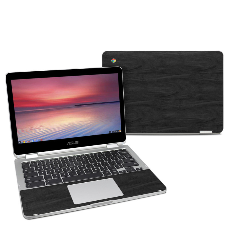 Black Woodgrain Asus Chromebook Flip C302 Skin