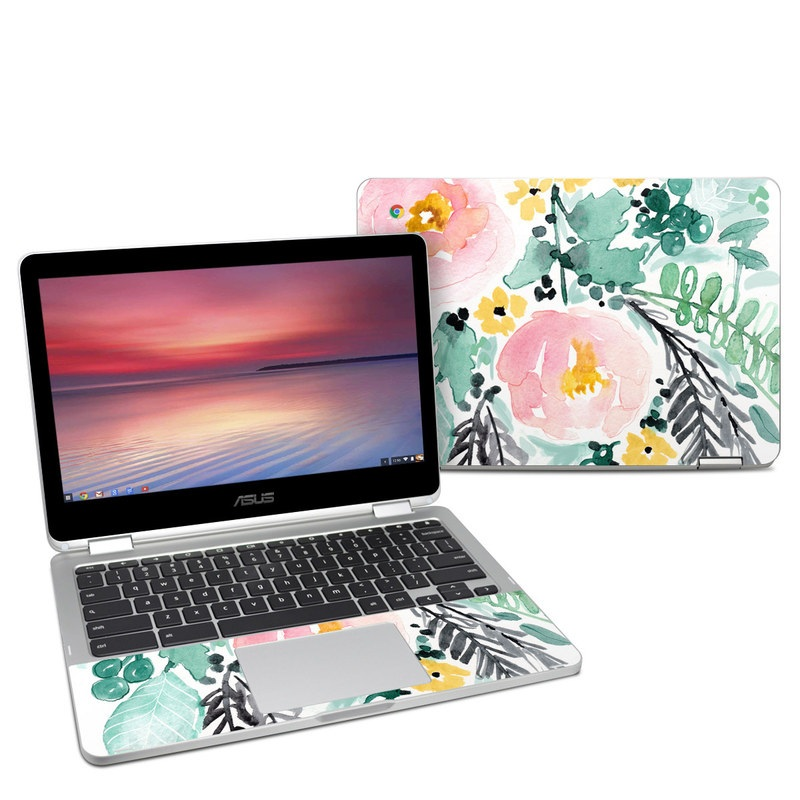 Asus Chromebook Flip C302 Skin design of Branch, Clip art, Watercolor paint, Flower, Leaf, Botany, Plant, Illustration, Design, Graphics with green, pink, red, orange, yellow colors