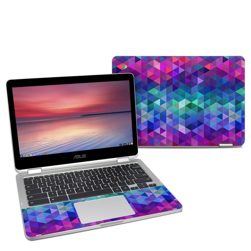 Asus Chromebook Flip C302 Skin design of Purple, Violet, Pattern, Blue, Magenta, Triangle, Line, Design, Graphic design, Symmetry with blue, purple, green, red, pink colors
