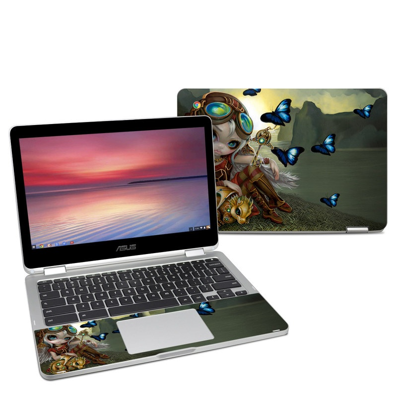 Asus Chromebook Flip C302 Skin design of Cg artwork, Illustration, Fictional character, Art, Mythology, Games, Massively multiplayer online role-playing game with black, green, red, yellow, brown, blue colors
