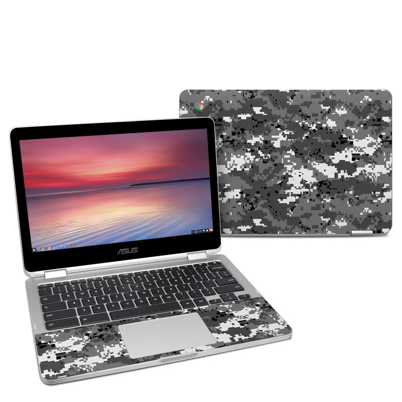 Asus Chromebook Flip C302 Skin design of Military camouflage, Pattern, Camouflage, Design, Uniform, Metal, Black-and-white with black, gray colors