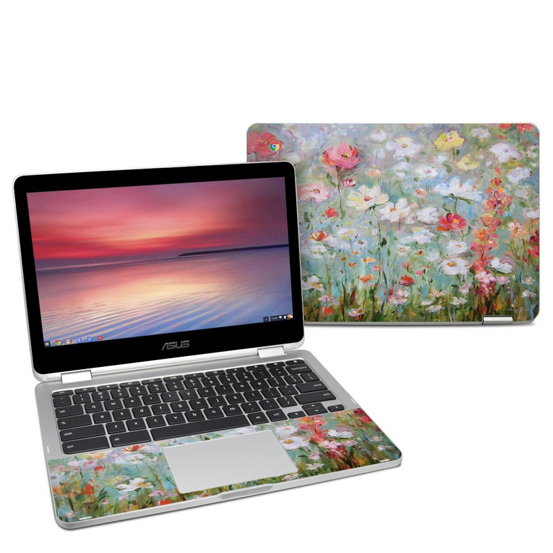 Asus Chromebook Flip C302 Skin design of Flower, Painting, Watercolor paint, Plant, Modern art, Wildflower, Botany, Meadow, Acrylic paint, Flowering plant with gray, black, green, red, blue colors