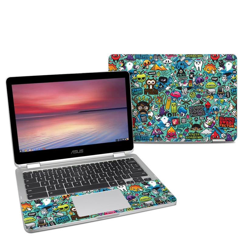 Asus Chromebook Flip C302 Skin design of Cartoon, Art, Pattern, Design, Illustration, Visual arts, Doodle, Psychedelic art with black, blue, gray, red, green colors