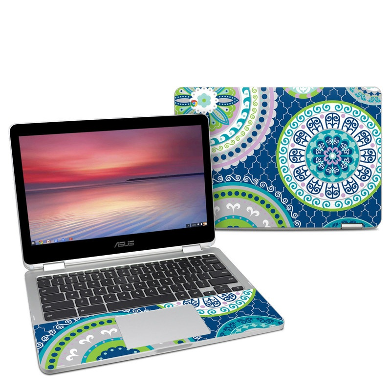 Asus Chromebook Flip C302 Skin design of Pattern, Aqua, Circle, Design, Textile, Visual arts with gray, blue, green, white colors