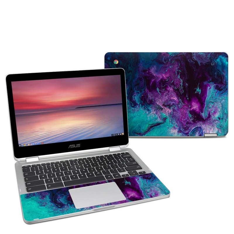 Asus Chromebook Flip C302 Skin design of Blue, Purple, Violet, Water, Turquoise, Aqua, Pink, Magenta, Teal, Electric blue with blue, purple, black colors