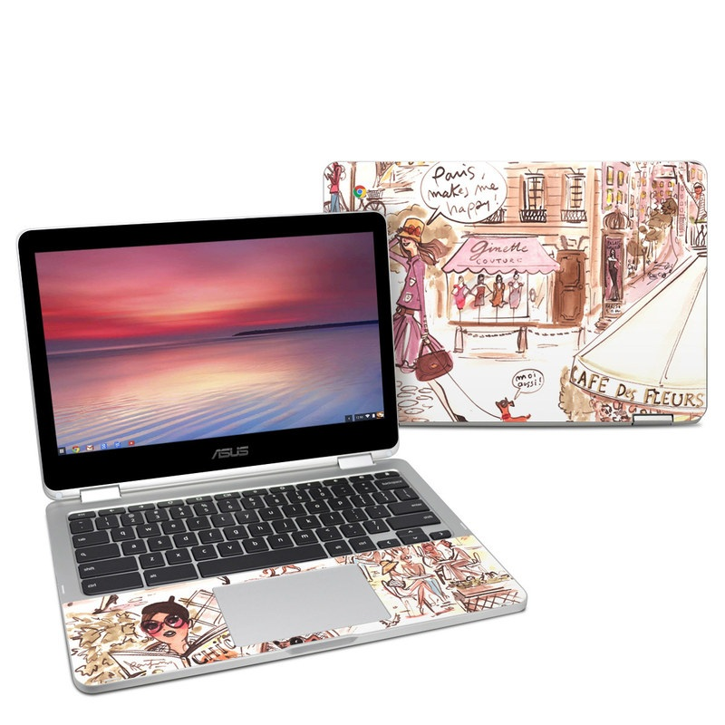 Asus Chromebook Flip C302 Skin design of Cartoon, Illustration, Comic book, Fiction, Comics, Art, Human, Organism, Fictional character, Style with gray, white, pink, red, yellow, green colors