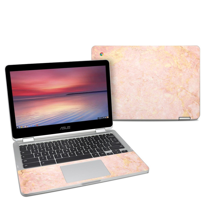 Asus Chromebook Flip C302 Skin design of Pink, Peach, Wallpaper, Pattern with pink, yellow, orange colors