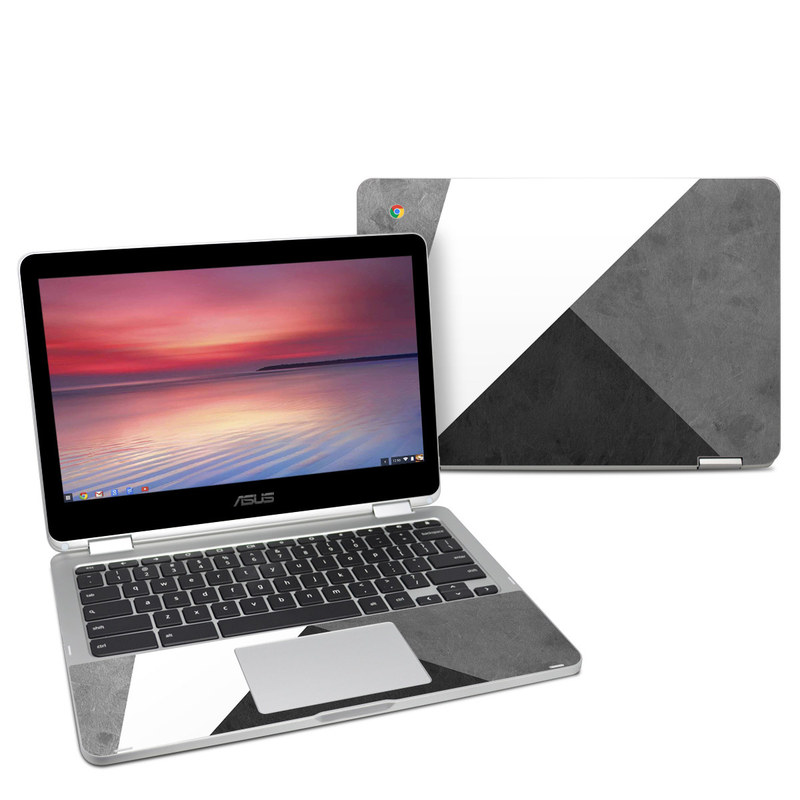 Asus Chromebook Flip C302 Skin design of Black, White, Black-and-white, Line, Grey, Architecture, Monochrome, Triangle, Monochrome photography, Pattern with white, black, gray colors