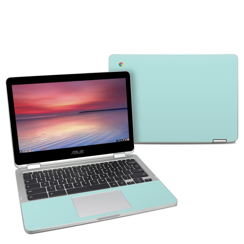 Asus Chromebook Flip C302 Skin design of Green, Blue, Aqua, Turquoise, Teal, Azure, Text, Daytime, Yellow, Sky with blue colors