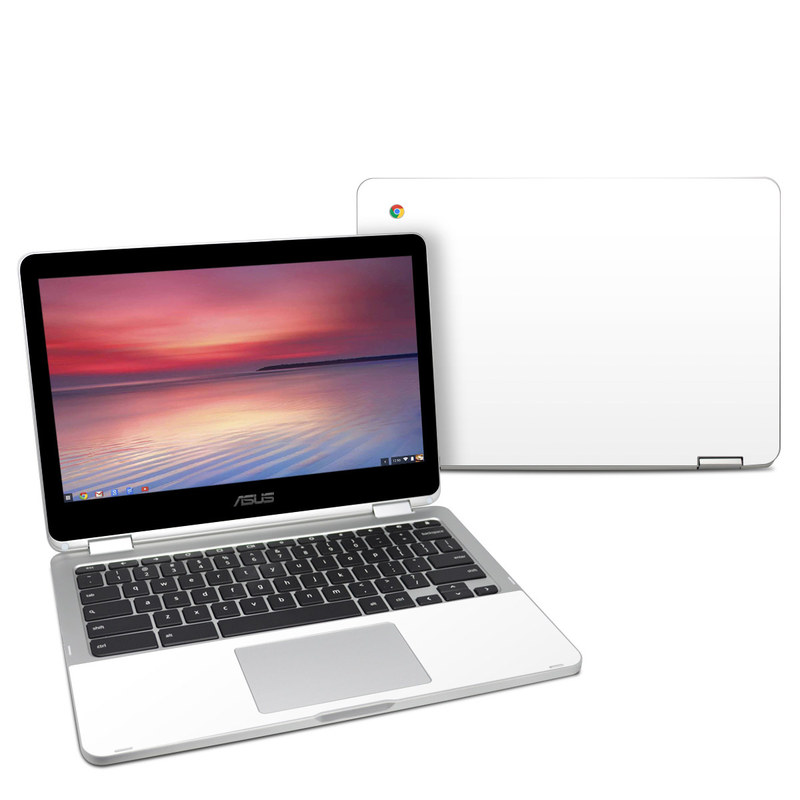 Asus Chromebook Flip C302 Skin design of White, Black, Line with white colors