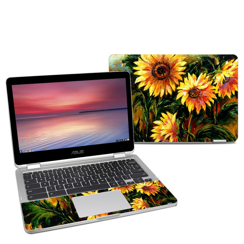 Asus Chromebook Flip C302 Skin design of Flower, Sunflower, Painting, Yellow, Plant, sunflower, Gazania, Flowering plant, Watercolor paint, Still life with black, orange, red, green, yellow, pink colors