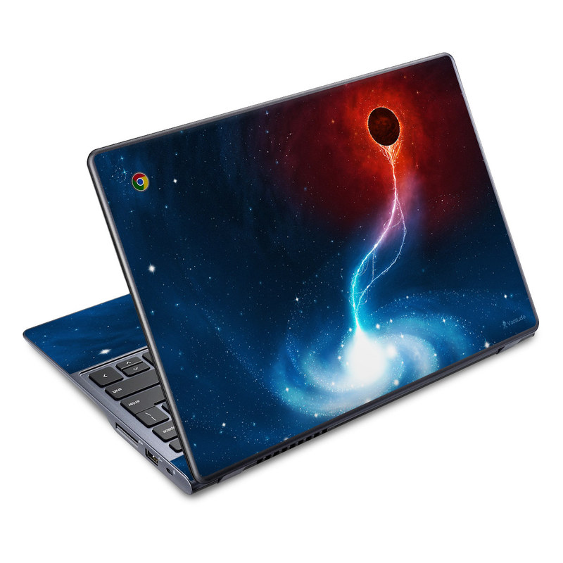 Acer C720 Chromebook Skin design of Outer space, Atmosphere, Astronomical object, Universe, Space, Sky, Planet, Astronomy, Celestial event, Galaxy with blue, red, black colors