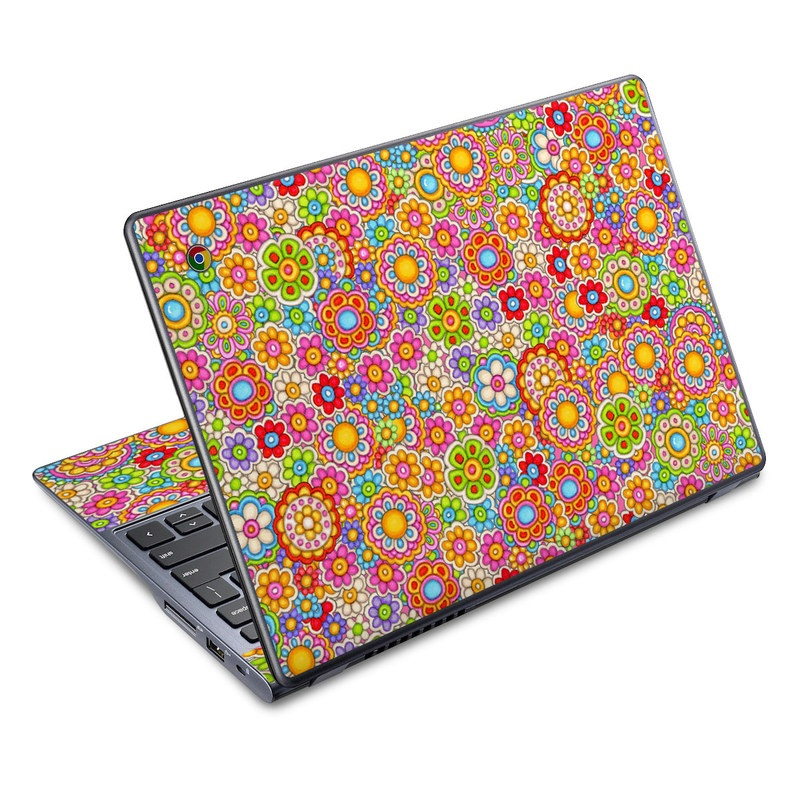 Acer C720 Chromebook Skin design of Pattern, Design, Textile, Visual arts with pink, red, orange, yellow, green, blue, purple colors