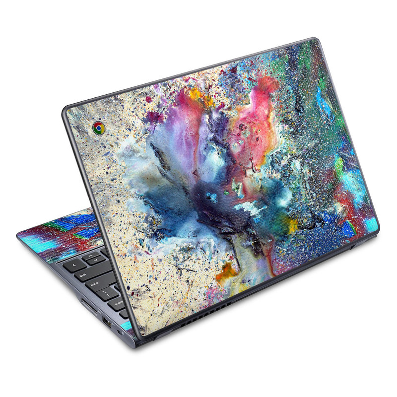 Acer C720 Chromebook Skin design of Watercolor paint, Painting, Acrylic paint, Art, Modern art, Paint, Visual arts, Space, Colorfulness, Illustration with gray, black, blue, red, pink colors