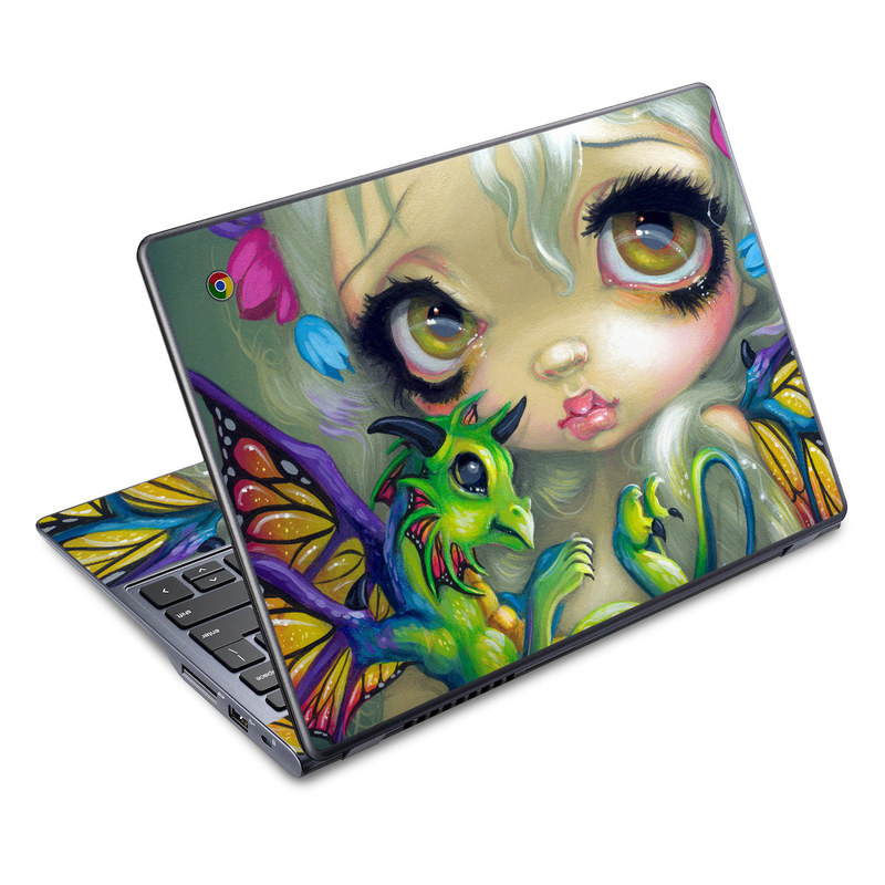 Acer C720 Chromebook Skin design of Illustration, Art, Fictional character, Painting, Visual arts, Fawn, Ear, Drawing with gray, black, green, blue, red colors