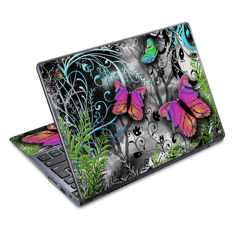 Acer C720 Chromebook Skin design of Butterfly, Pink, Purple, Violet, Organism, Spring, Moths and butterflies, Botany, Plant, Leaf with black, gray, green, purple, red colors