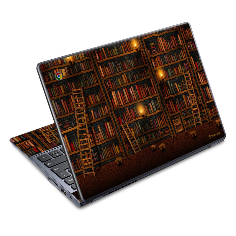 Acer C720 Chromebook Skin design of Shelving, Library, Bookcase, Shelf, Furniture, Book, Building, Publication, Room, Darkness with black, red colors