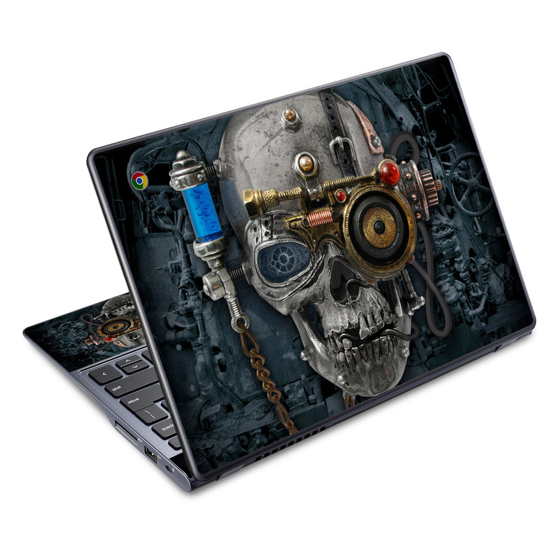Acer C720 Chromebook Skin design of Engine, Auto part, Still life photography, Personal protective equipment, Illustration, Automotive engine part, Art with black, gray, red, green colors