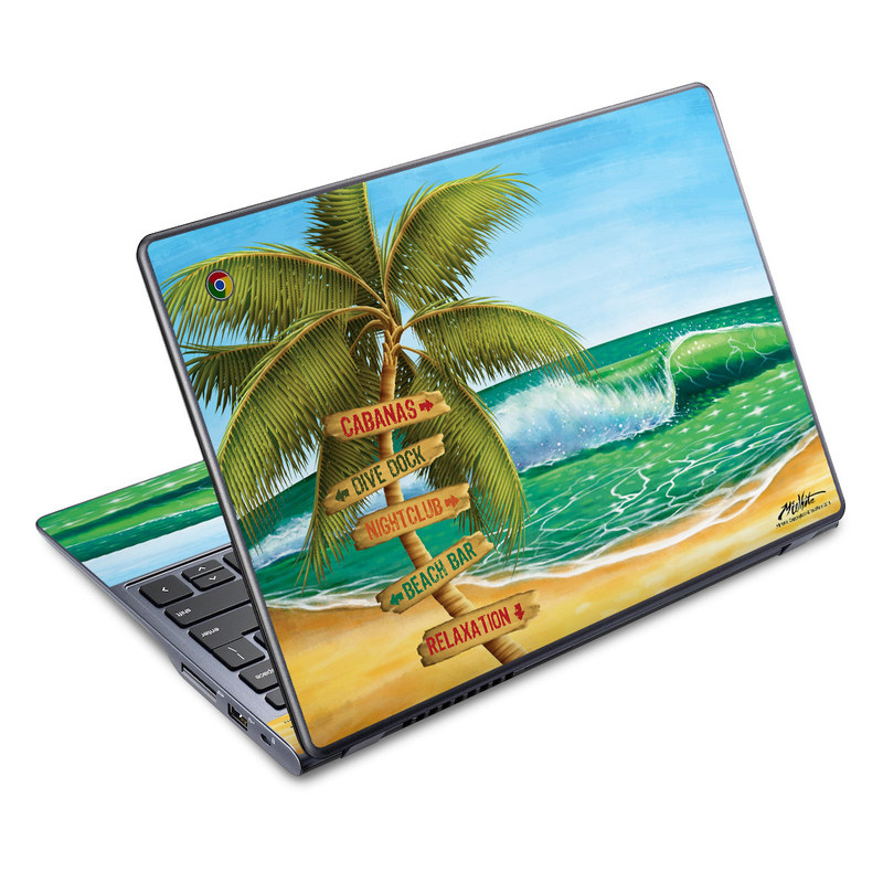 Acer C720 Chromebook Skin design of Palm tree, Arecales, Tropics, Tree, Caribbean, Wave, Water, Coconut, Ocean, Elaeis with green, purple, gray, black, blue colors