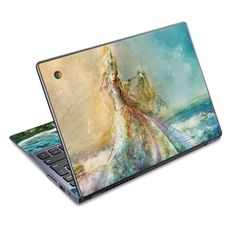 Acer C720 Chromebook Skin design of Painting, Watercolor paint, Acrylic paint, Art, Cg artwork, Sea with gray, blue, green, black, red, pink colors