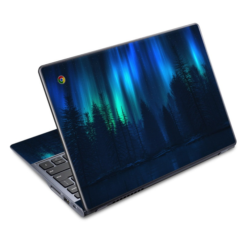 Acer C720 Chromebook Skin design of Blue, Light, Natural environment, Tree, Sky, Forest, Darkness, Aurora, Night, Electric blue with black, blue colors