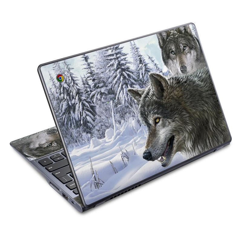 Acer C720 Chromebook Skin design of Mammal, Vertebrate, Wolf, Canidae, canis lupus tundrarum, Canis, Wildlife, Carnivore, Wolfdog, Dog with gray, black, blue, purple colors