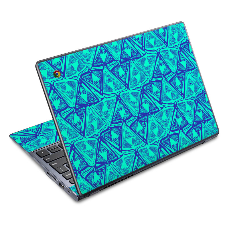 Acer C720 Chromebook Skin design of Pattern, Turquoise, Green, Teal, Line, Design, Symmetry, Electric blue, Triangle with blue, green colors