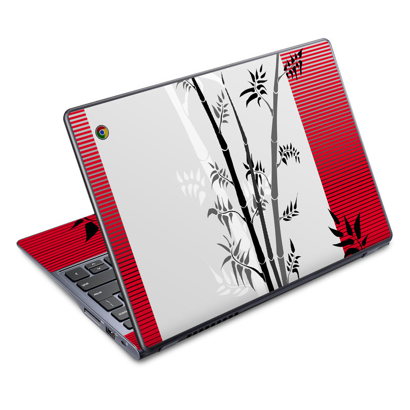 Acer C720 Chromebook Skin design of Botany, Plant, Branch, Plant stem, Tree, Bamboo, Pedicel, Black-and-white, Flower, Twig with gray, red, black, white colors