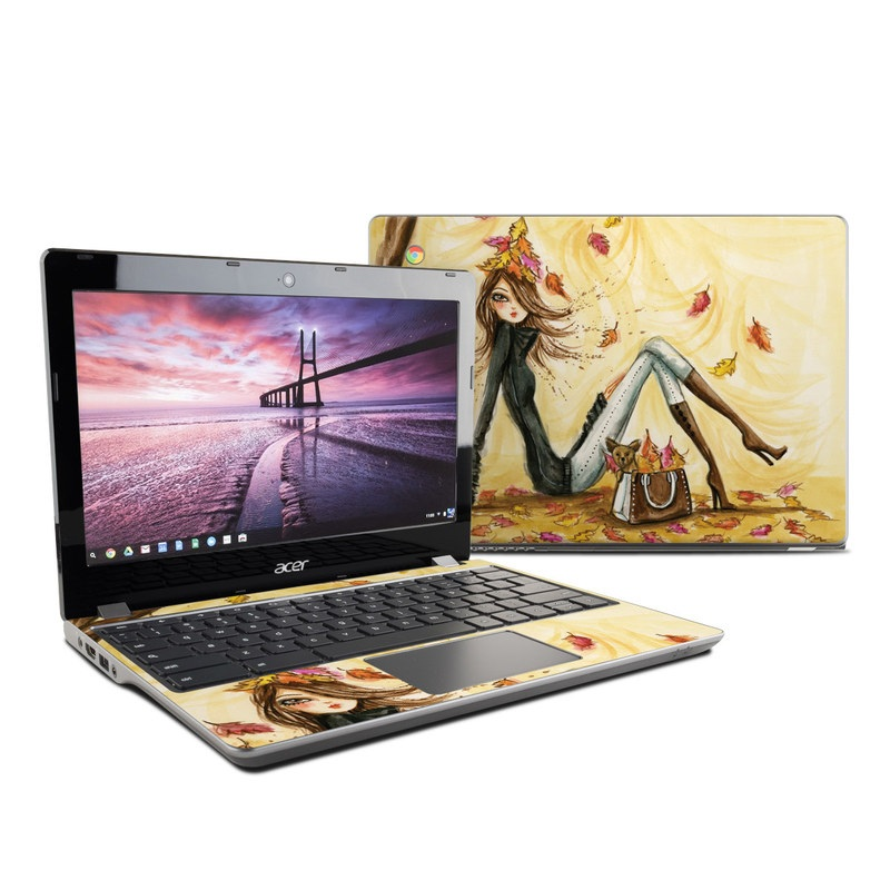 Acer Chromebook 11 C740 Skin design of Painting, Watercolor paint, Tree, Art, Illustration, Plant, Modern art, Visual arts, Still life, Fictional character with yellow, red, brown, orange, black, white colors