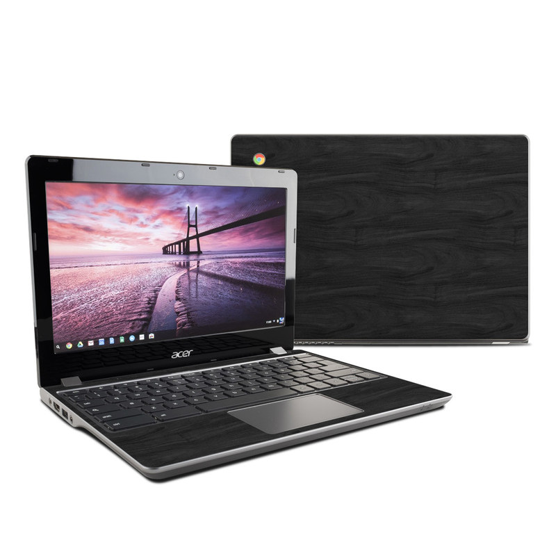 Acer Chromebook 11 C740 Skin design of Black, Brown, Wood, Grey, Flooring, Floor, Laminate flooring, Wood flooring with black colors