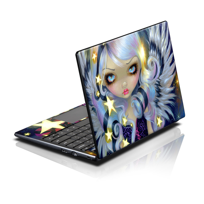 Acer AC700 Chromebook Skin design of Cg artwork, Purple, Violet, Illustration, Fictional character, Anime, Art, Graphics, Graphic design with blue, red, purple, white, yellow colors