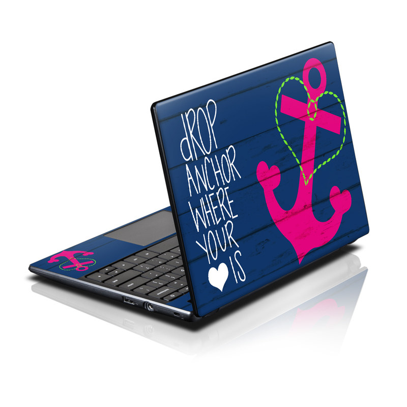 Acer AC700 Chromebook Skin design of Font, Text, Love, Heart, Illustration, Anchor, Graphic design, Gesture with black, purple, gray, red, blue, white colors