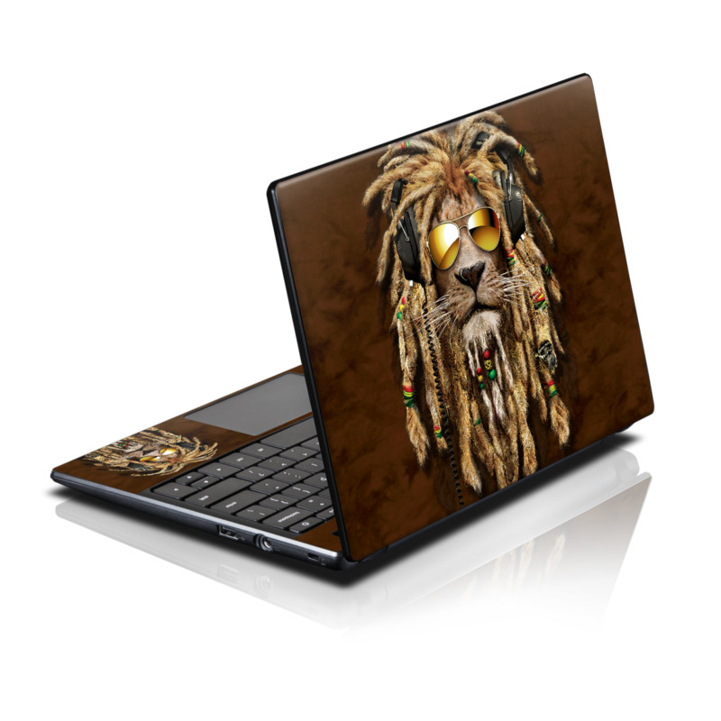 Acer AC700 Chromebook Skin design of Hair, Fur, Dreadlocks, Snout, Organism, Glasses, Whiskers, Mask, Wildlife, Fictional character with black, green, red, gray colors
