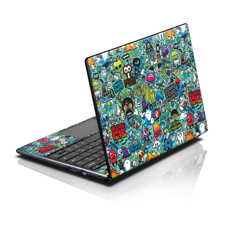 Acer AC700 Chromebook Skin design of Cartoon, Art, Pattern, Design, Illustration, Visual arts, Doodle, Psychedelic art with black, blue, gray, red, green colors