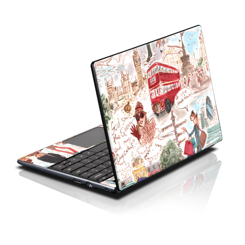 Acer AC700 Chromebook Skin design of Illustration, Art, World, Christmas, Fictional character, Vehicle with gray, white, pink, red, green, black colors