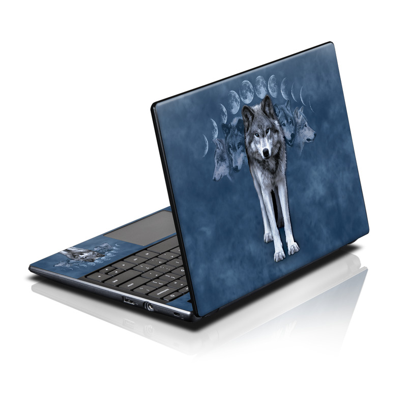 Acer AC700 Chromebook Skin design of Wolf, canis lupus tundrarum, Canidae, Canis, Wildlife, Wolfdog, Northern inuit dog, Saarloos wolfdog, Czechoslovakian wolfdog, Sky with black, blue, gray colors