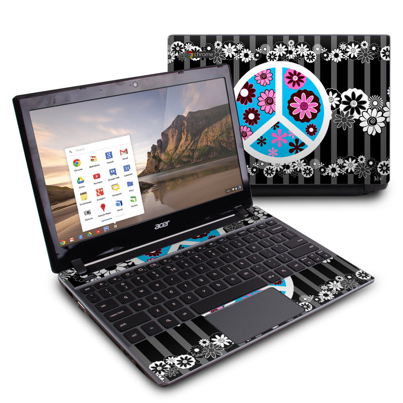 Peace Flowers Black Acer C7 Chromebook Skin
