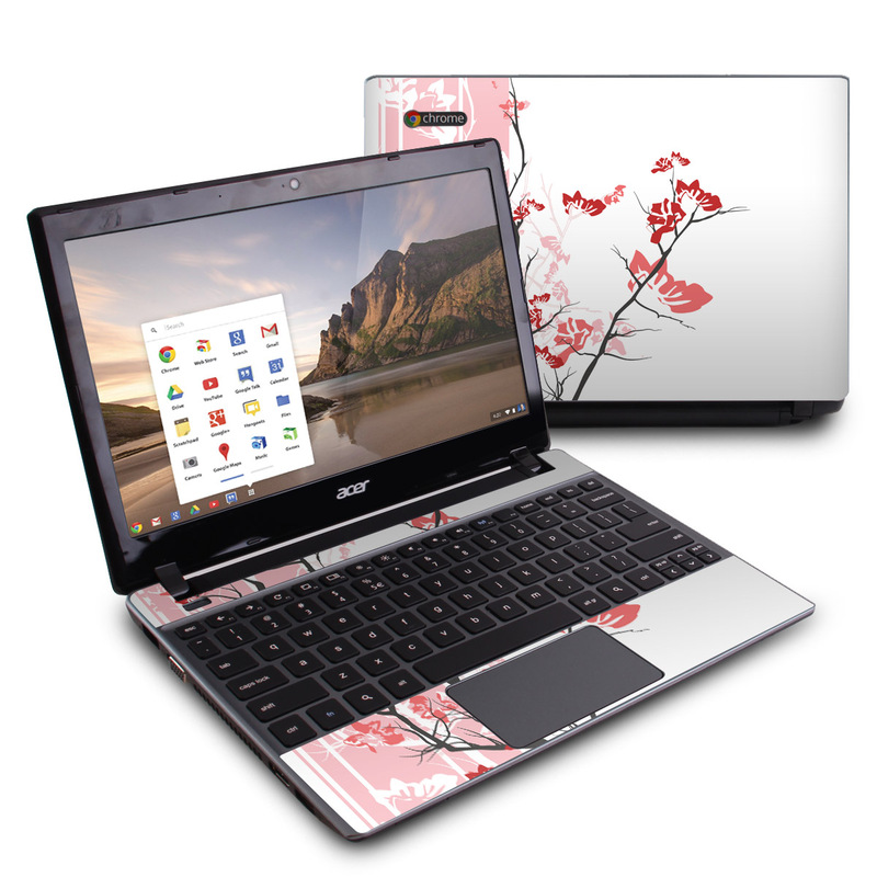 Acer C7 Chromebook Skin design of Branch, Red, Flower, Plant, Tree, Twig, Blossom, Botany, Pink, Spring with white, pink, gray, red, black colors
